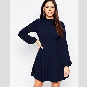 Warehouse High Neck Babydoll Dress Blue Size 12
